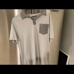 Penguin light blue and grey polo shirt xl